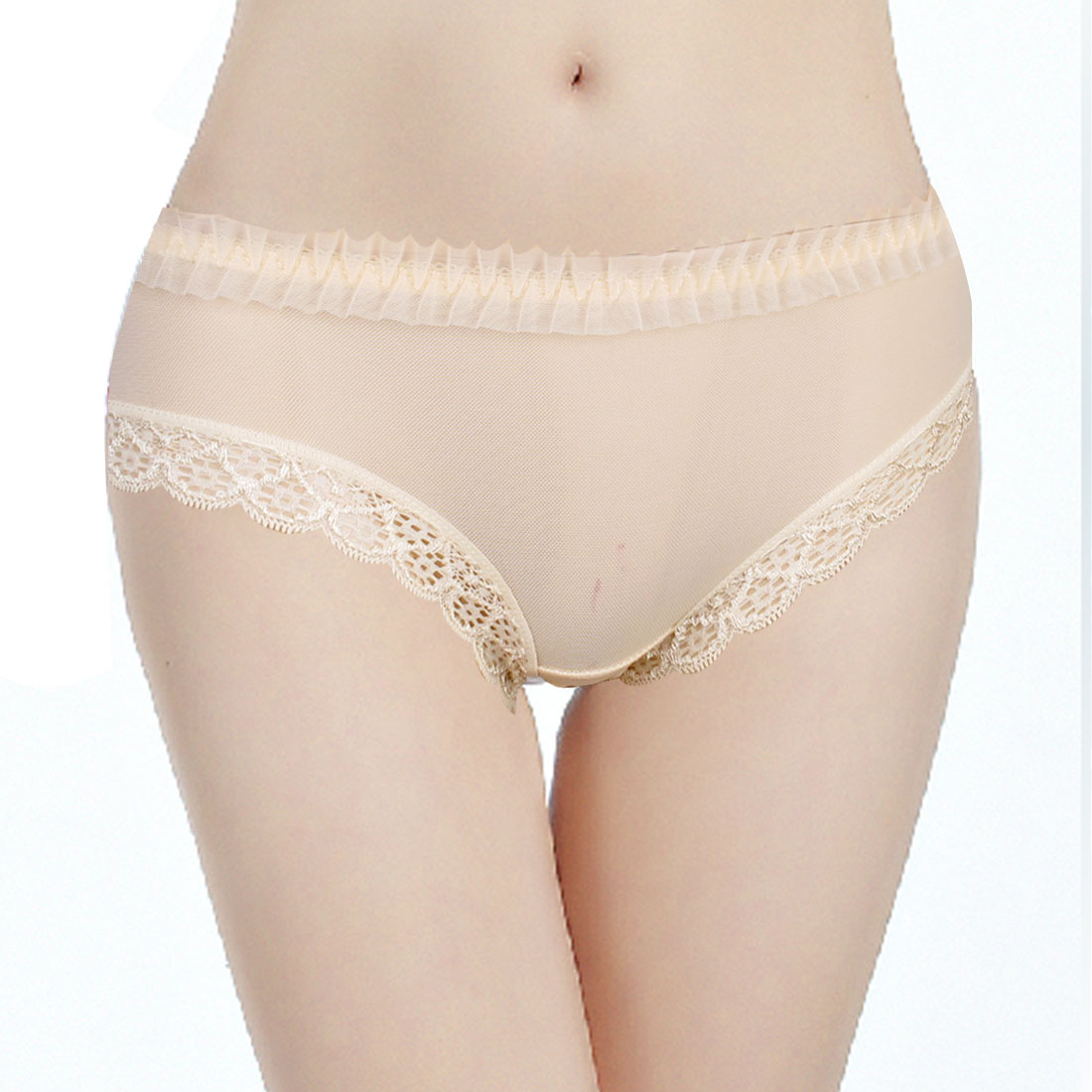 Ladies Beige Bowknot Decor Back Waist Sheer Briefs Underpants Panties XS