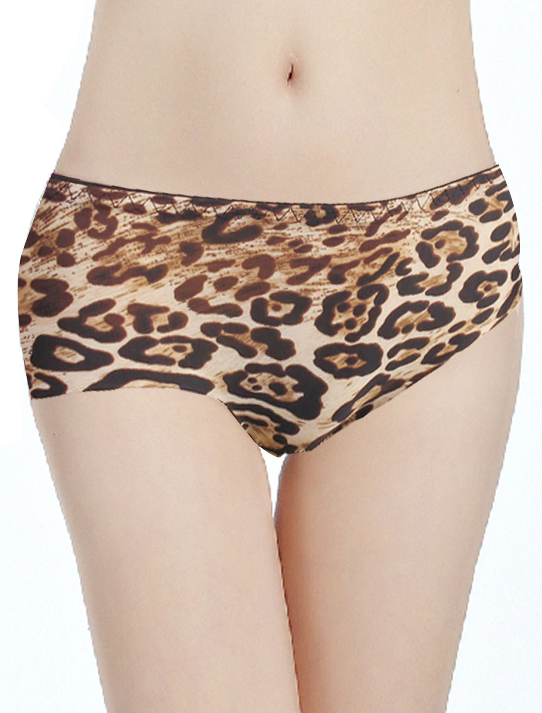 Woman Low Waist Brown Leopard Pattern Seamless Underpants Briefs XS