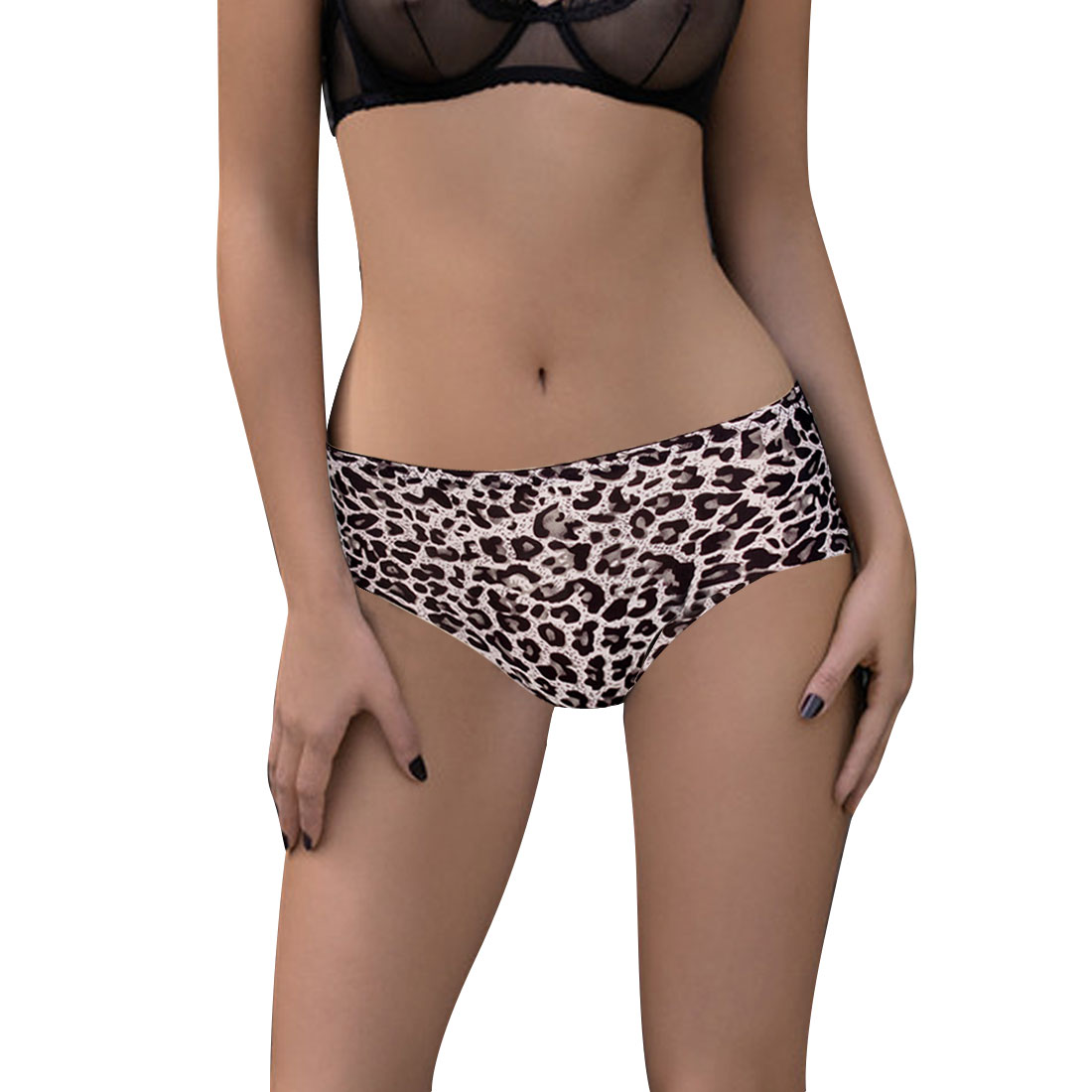 Ladies Elastic Waist Black Leopard Print Seamless Panties Light Pink XS