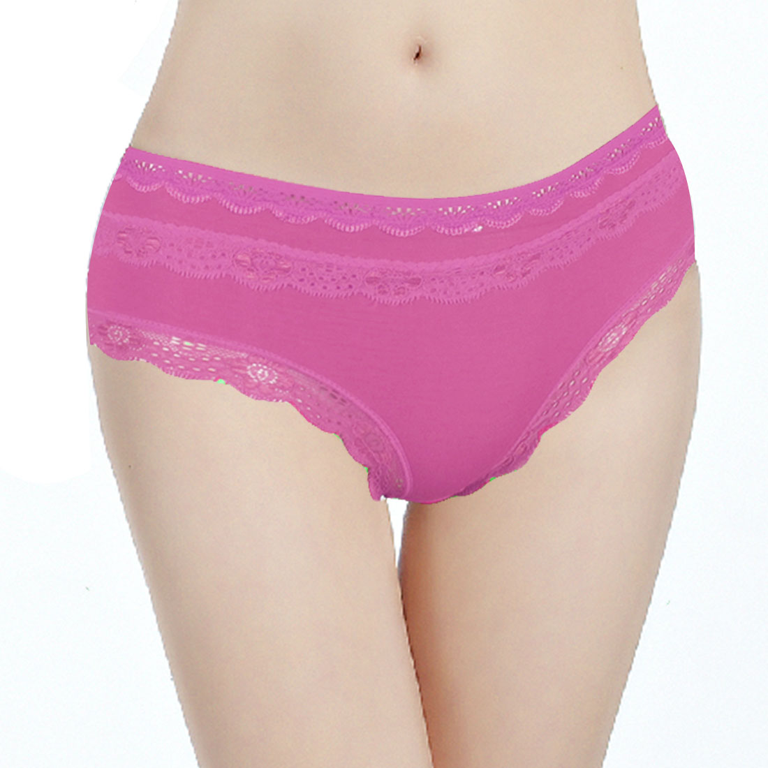 Woman Fuchsia Scalloped Edge Accent Stretch Low Rise Waist Briefs XS