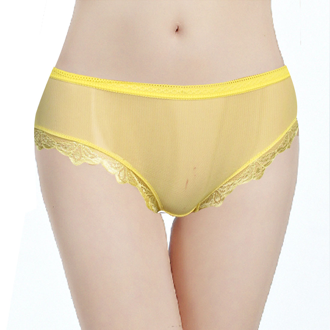 Solid Yellow Laced Hem Underpants Briefs Panties XS for Ladies