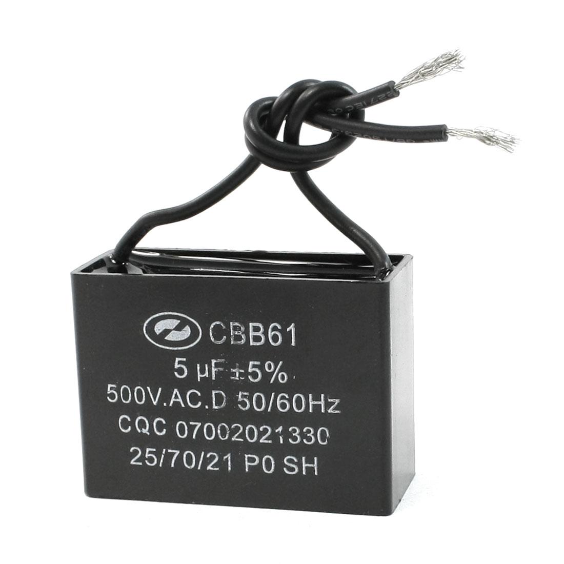 AC 500V CBB61 5uF Cuboid Polypropylene Film Motor Capacitor for Fan