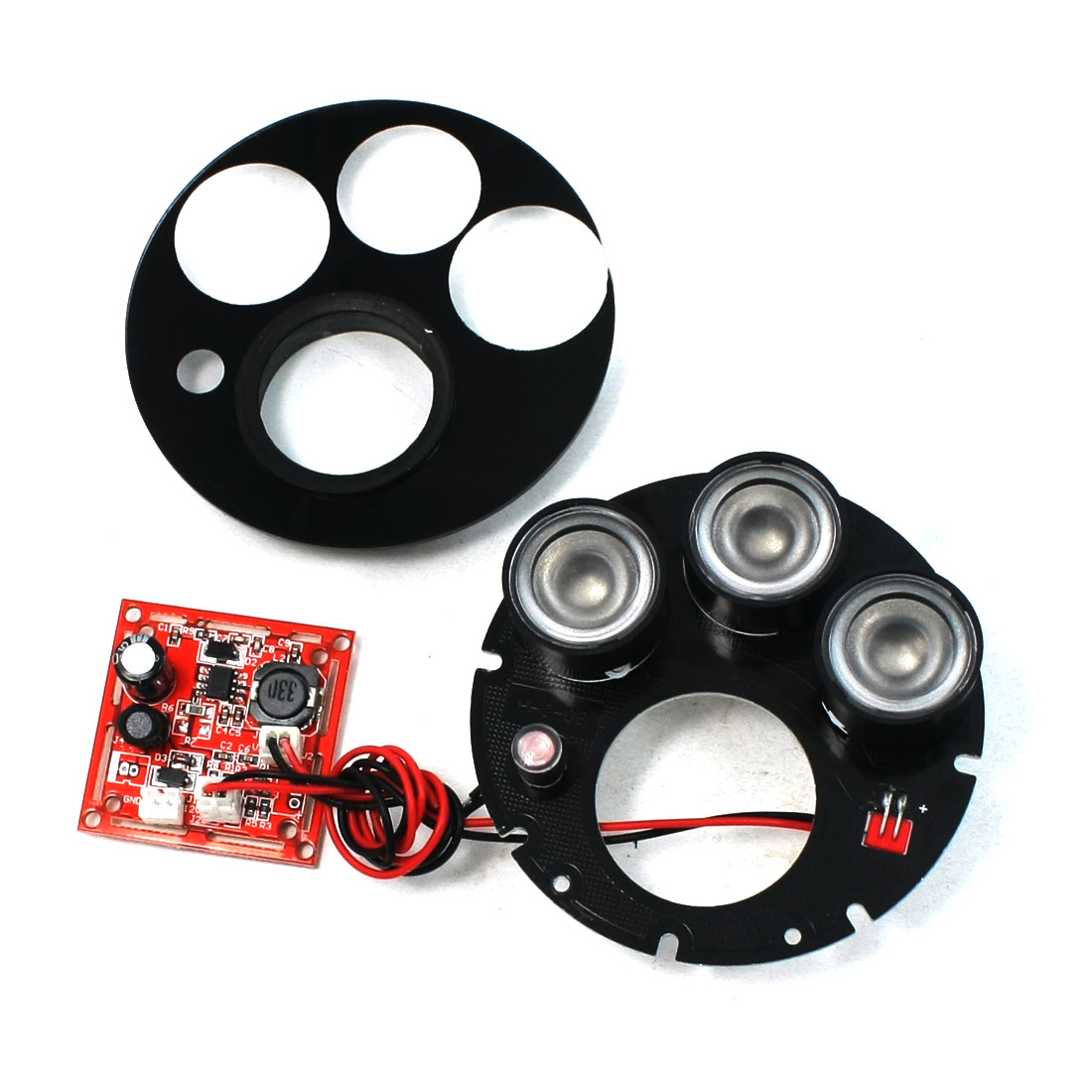 CCTV CCD Camera 80 Degree Red 3 LED IR Illuminator Infrared Round Board