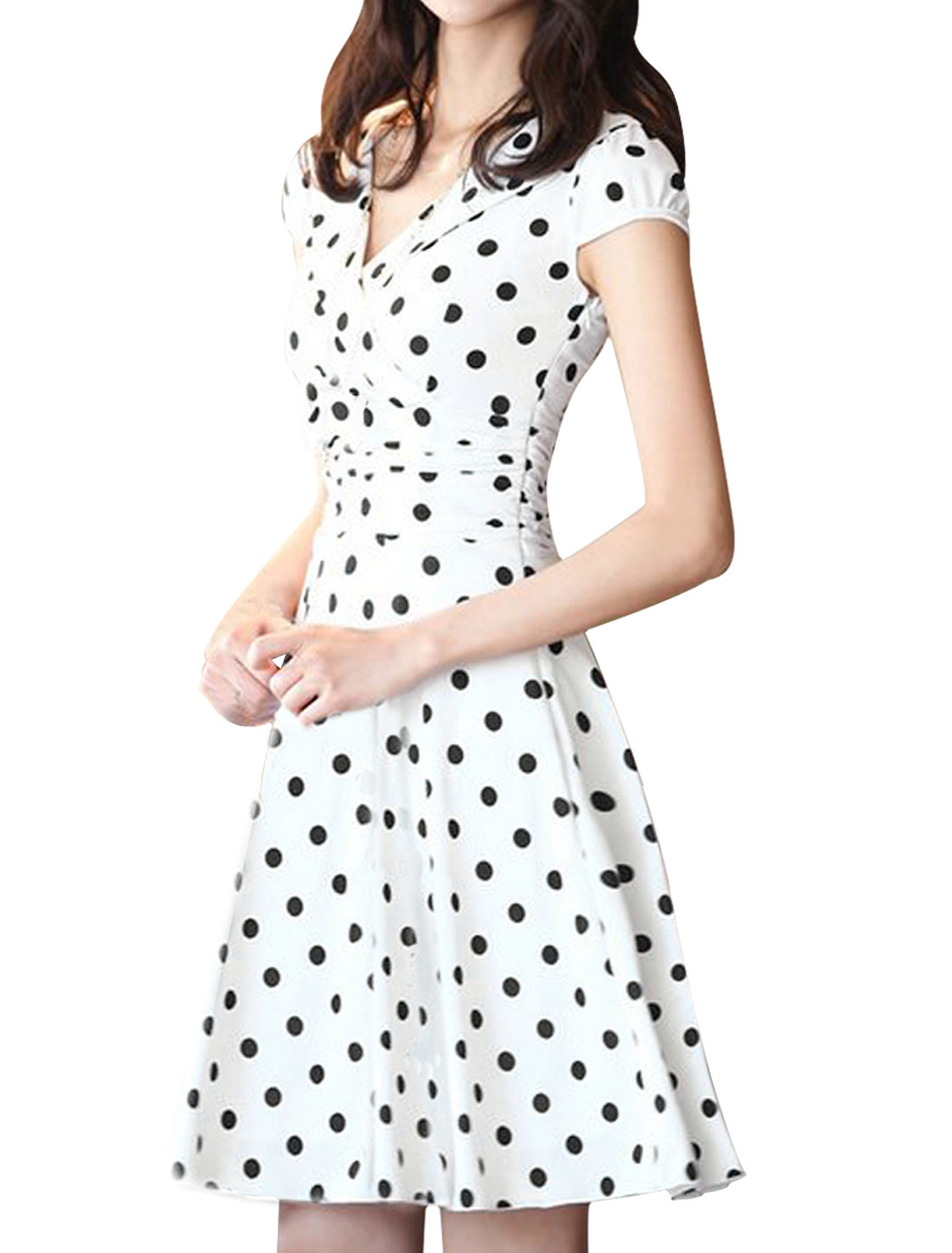 Ladies Crossover V Neck Cap Sleeve Dots Pattern White Above Knee Dress S