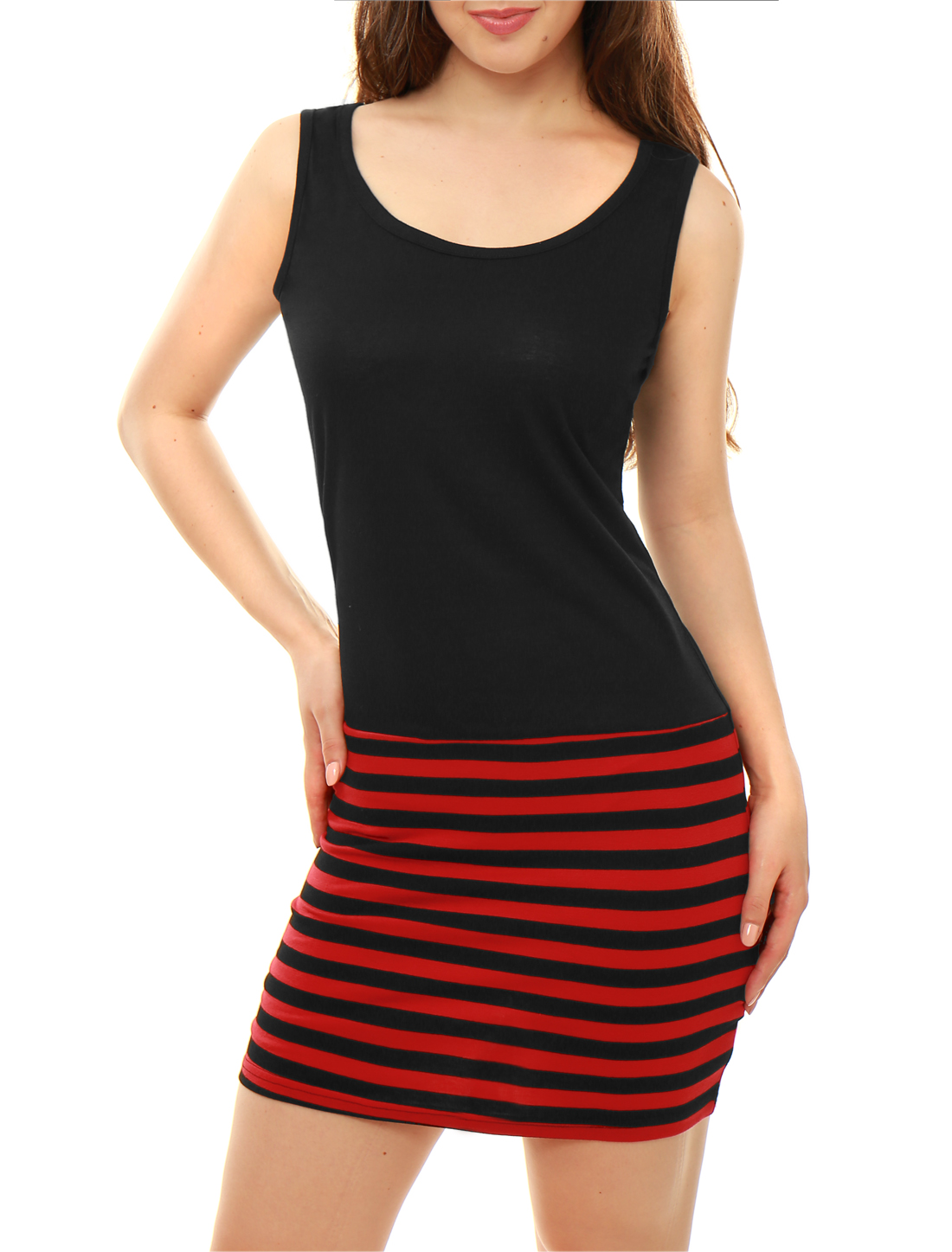 Pullover Black Red Stripes Pattern Slim Fit Mini Dress for Lady M
