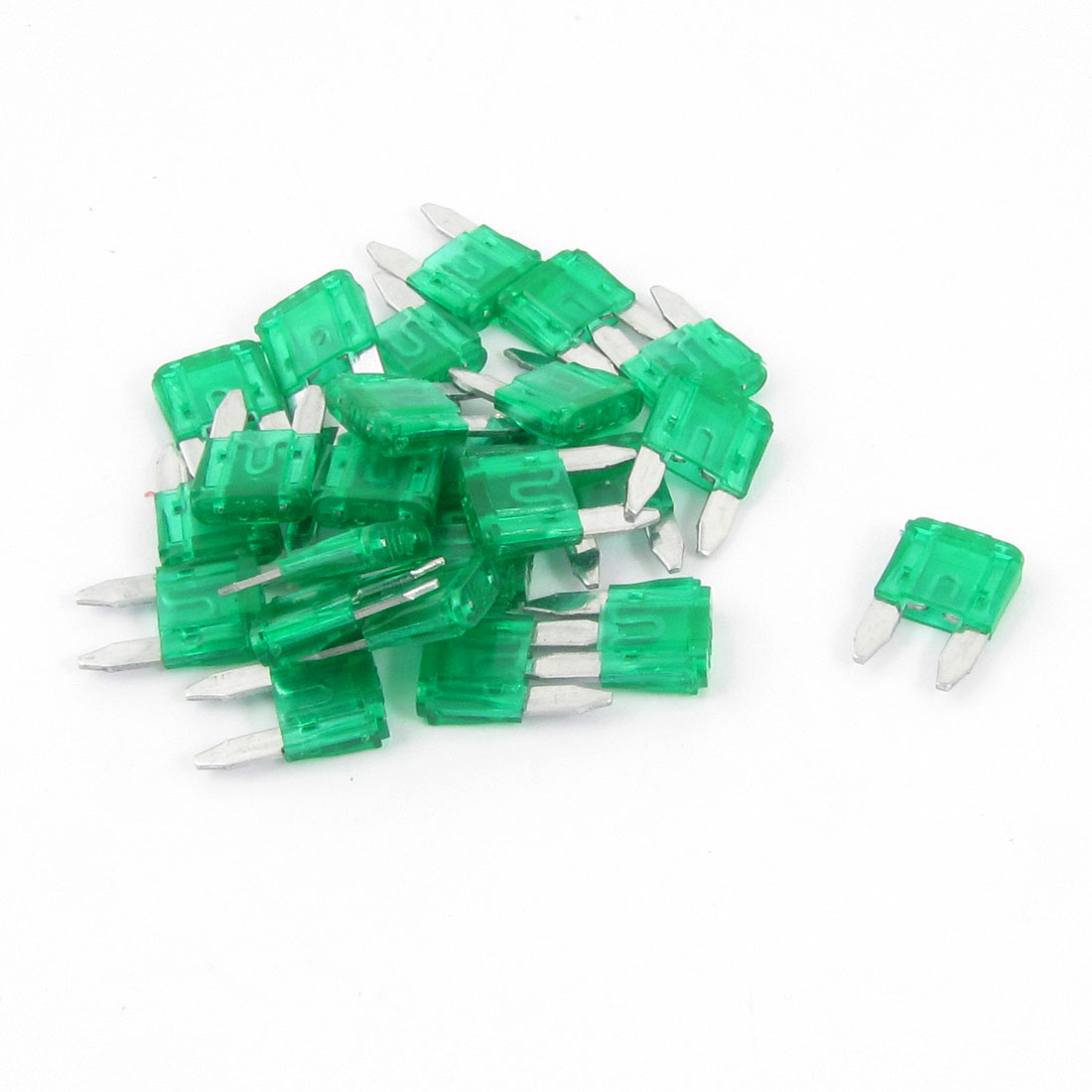 Automotive Car Mini Blade Fuse 30A Green Auto Fuses 25 Pcs
