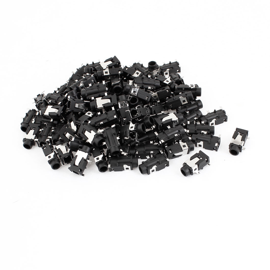 Black 4 Pin 3.5mm Headphone Stereo Jack PCB Panel Mount Socket 100 Pcs
