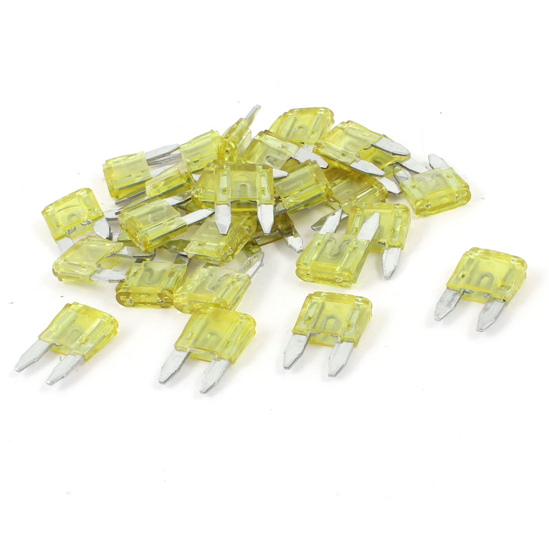 20A Auto Car Motorcycle Mini Blade Fuse Yellow 30 Pieces
