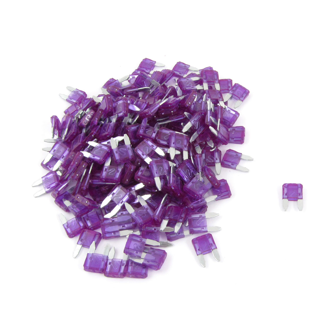 Purple 3A Auto Car Motorcycle Mini Blade Fuse 200 Pieces