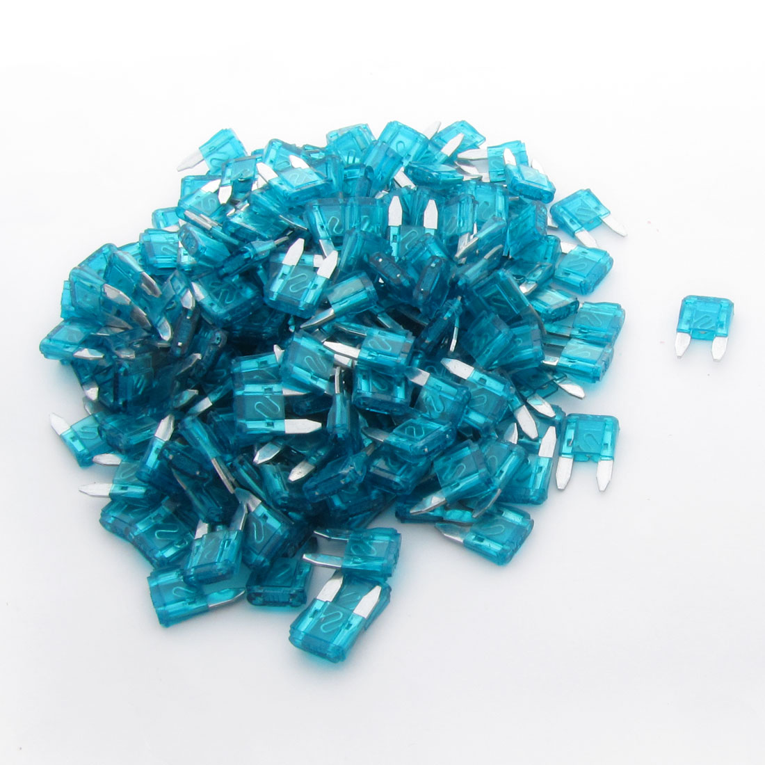 200pcs Blue 15A Fast Acting Car Blade Fuses Small Size