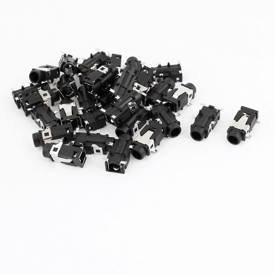 30 Pcs Audio 3.5mm 4 Pin Stereo Jack Panel Mount PCB Connector Black