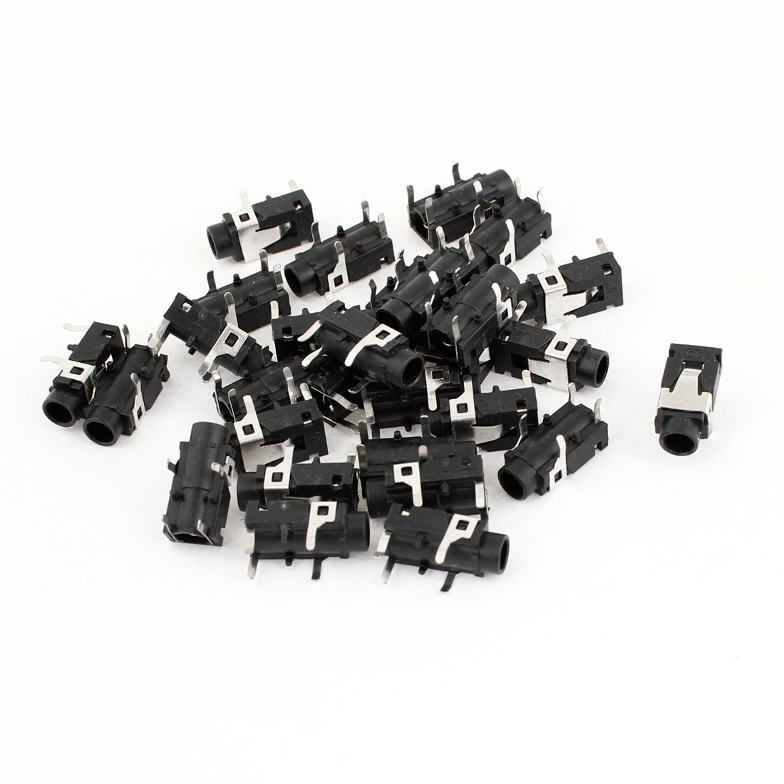 Black Silver Tone 4 Pin 3.5mm Stereo Jack Socket PCB Mount Connector 30PCS