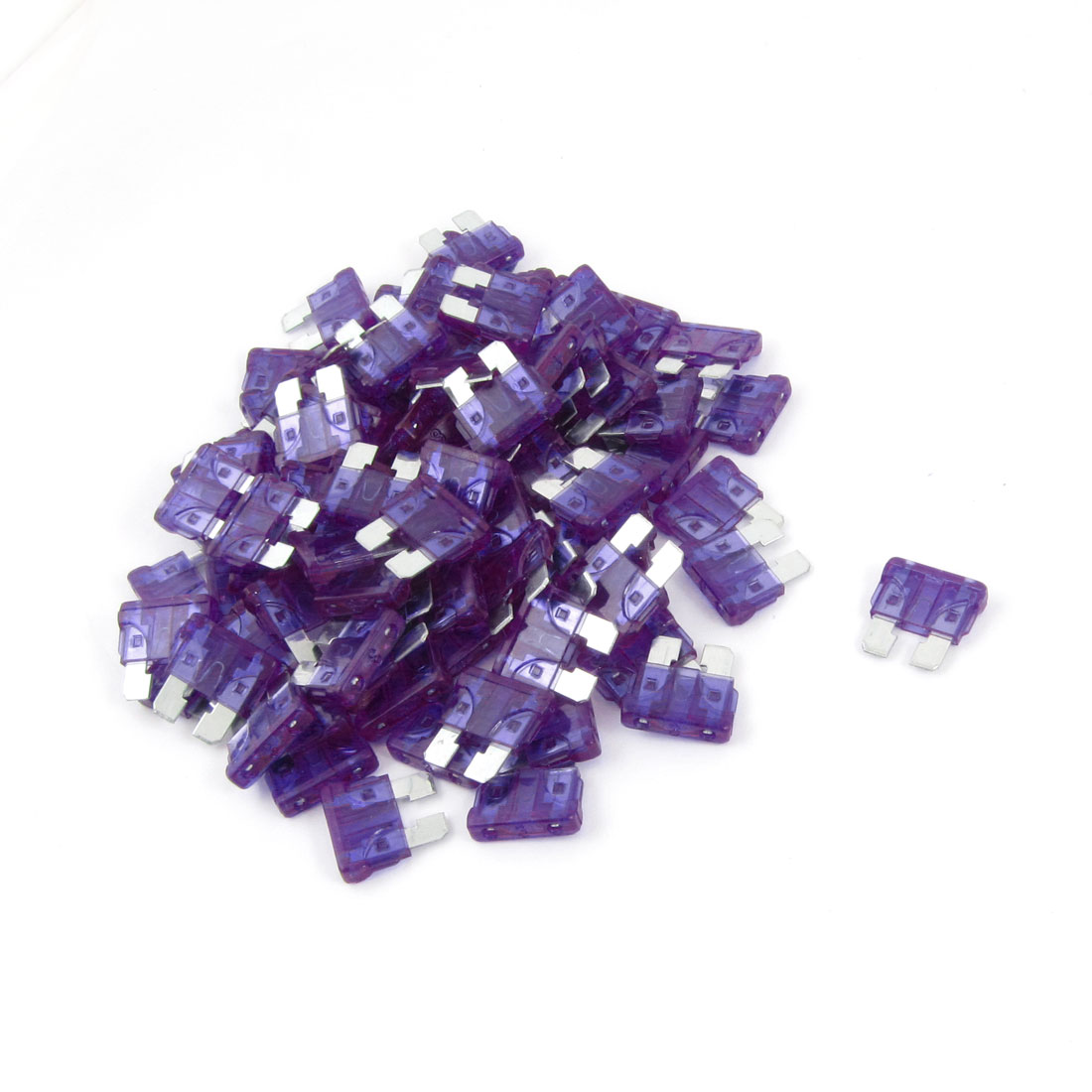 100 Pcs Auto Car Purple Plastic Coated Mini Blade Fuses 3A