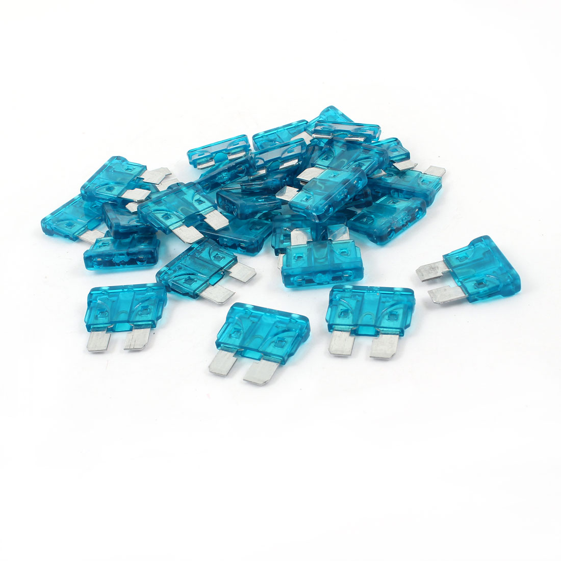 30 Pcs 15Amp 15A Teal Blue Body Two Prong Blade Plug-in ATC Fuses