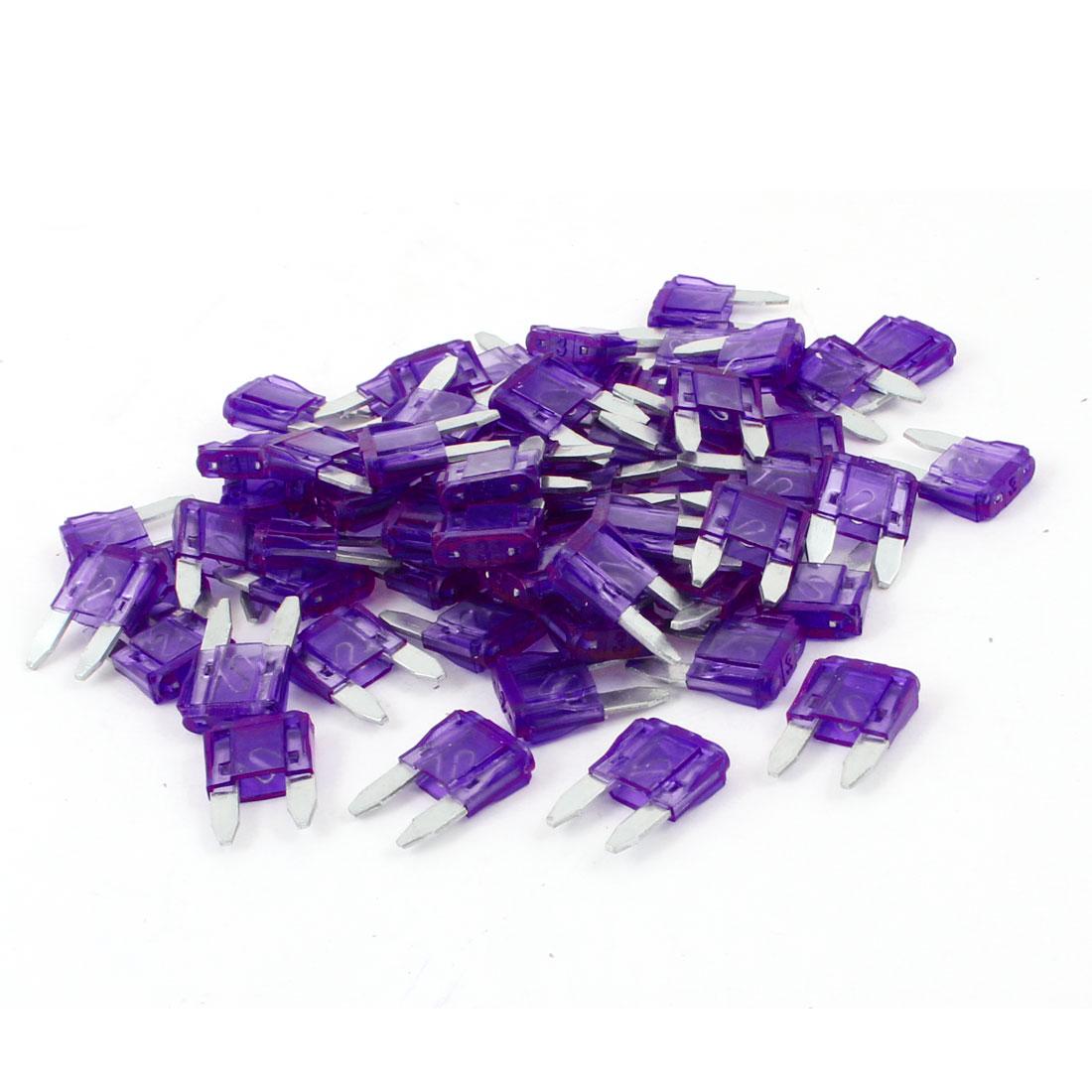 60 Pcs 3A Purple Mini Blade Fuses Set for Vehicle Car Auto