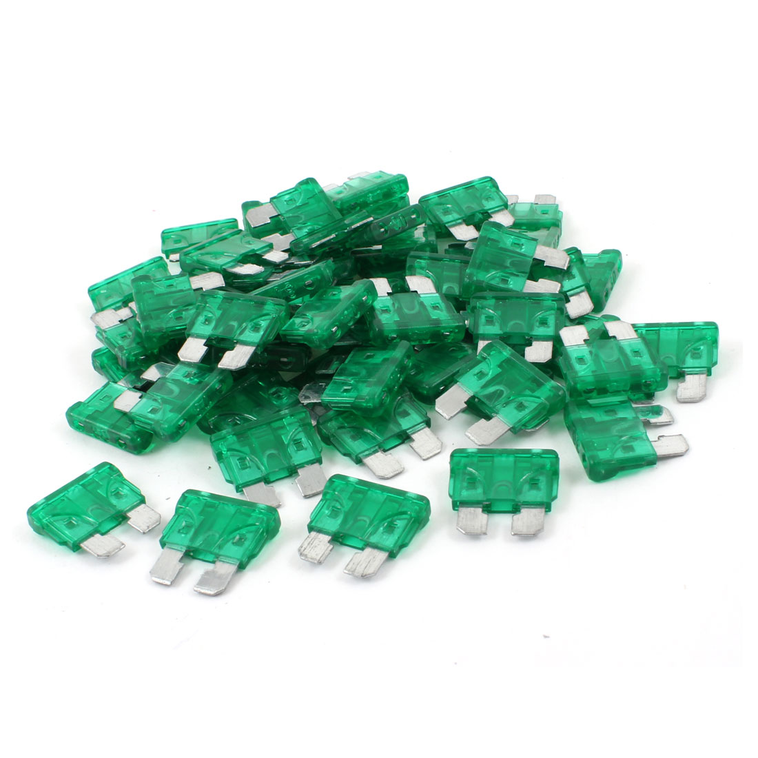 60pcs Clear Green 30A Mini Blade Fuses Set for Vehicle Car Auto