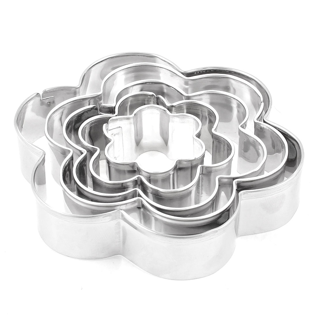 5 Pieces Silver Tone Flower Shape Pastry Biscuit Cutter for Party