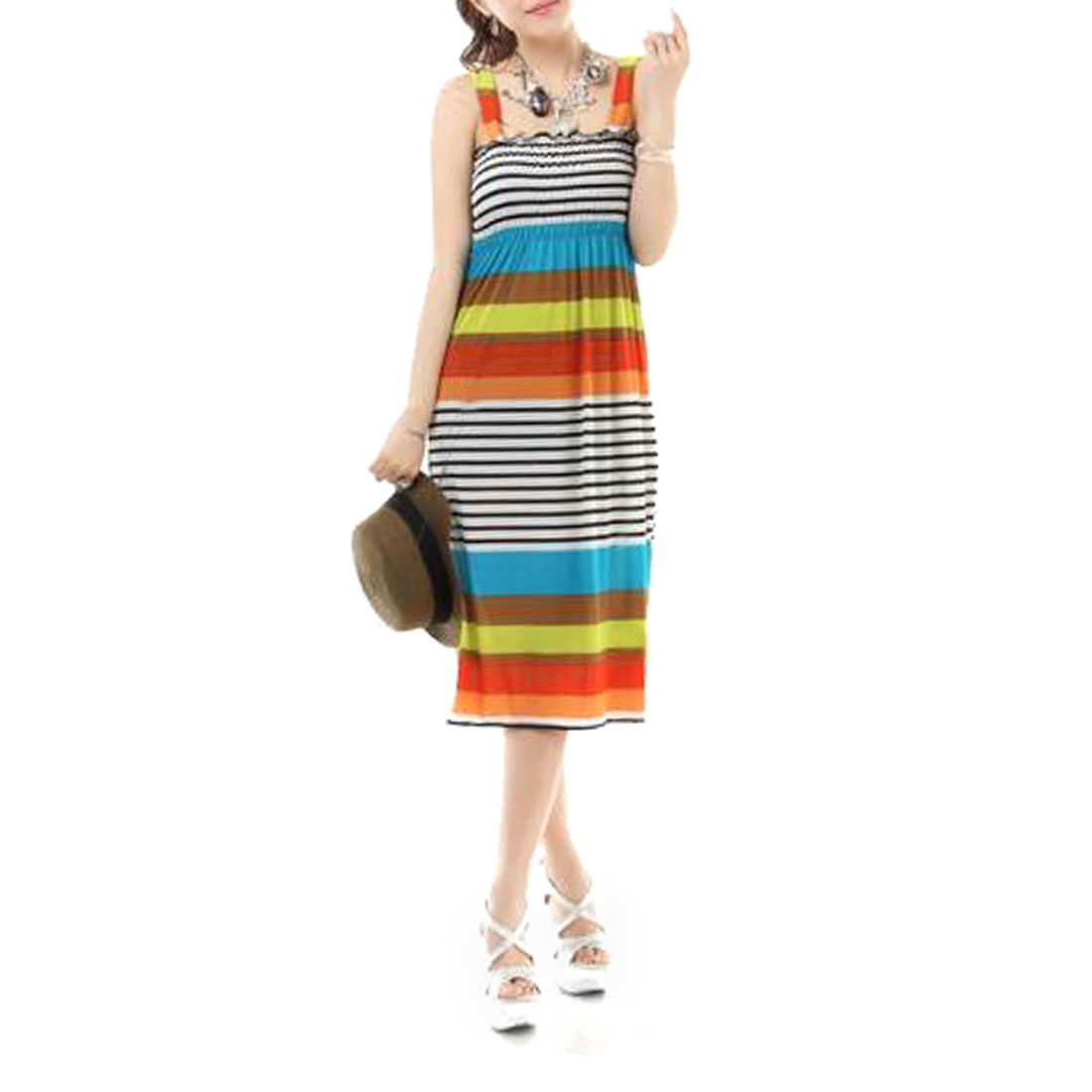 Charming Colorful Rainbow Pattern Slip Dress Sundress XS for Women