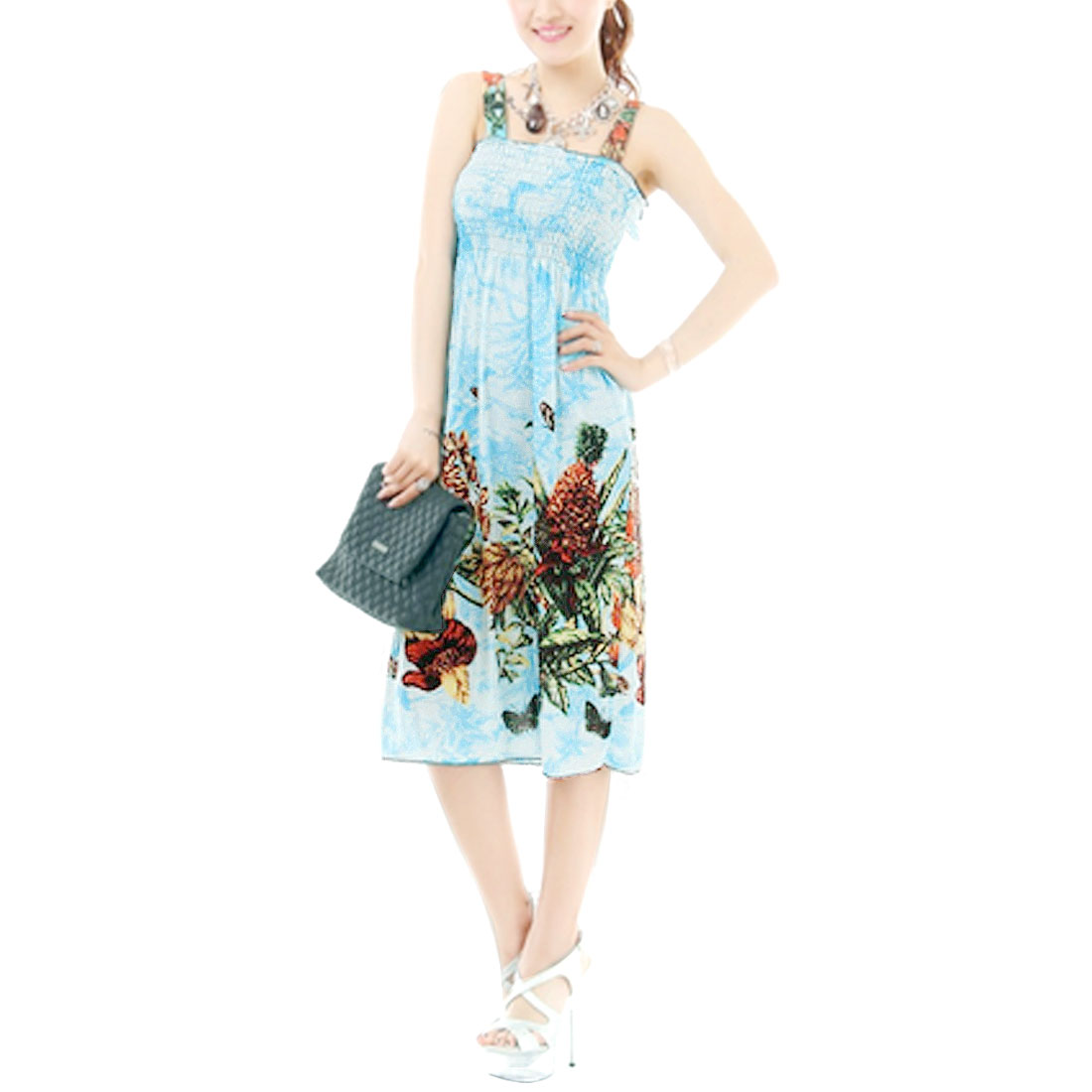 Summer Stylish Butterfly Print Ruffled Slip Dress Blue XS for Woman