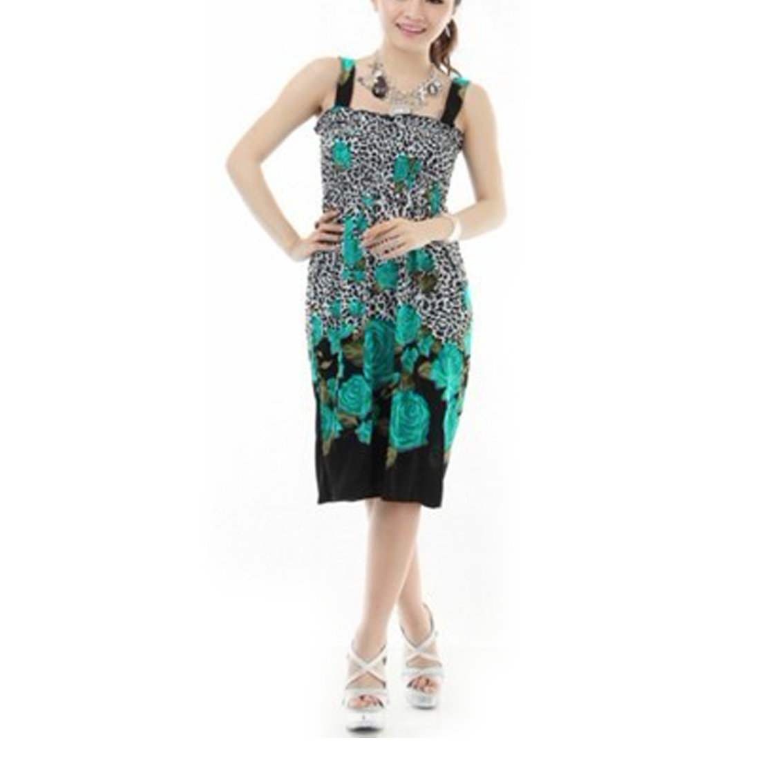 Ladies Sleeveless Black Spots Printed Smocked Bust Slip Dress XS