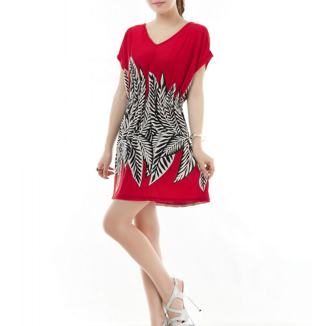 Double V Neck Black White Leaf Print Stylish Dress Red XS for Women