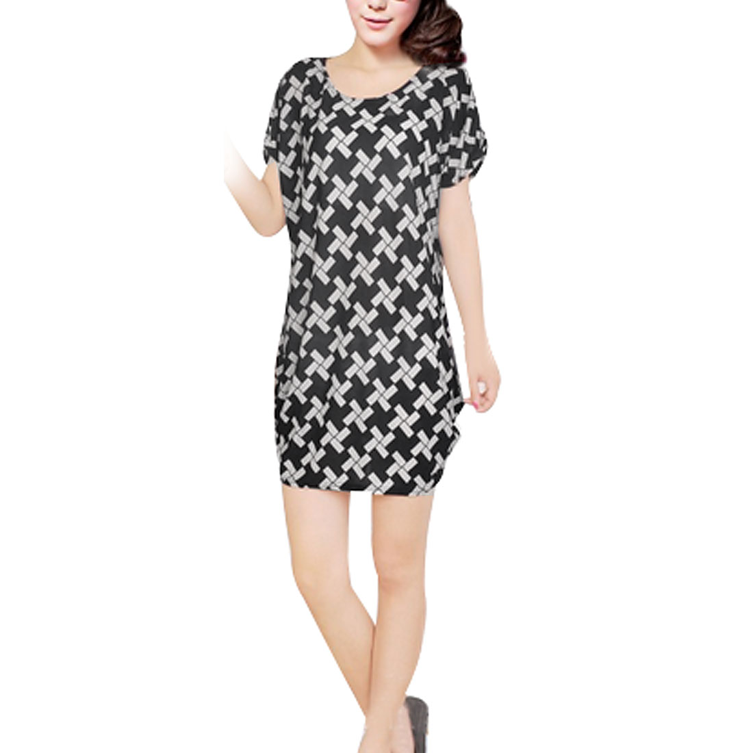 Woman Stylish Round Neck Loose Dress Black White S