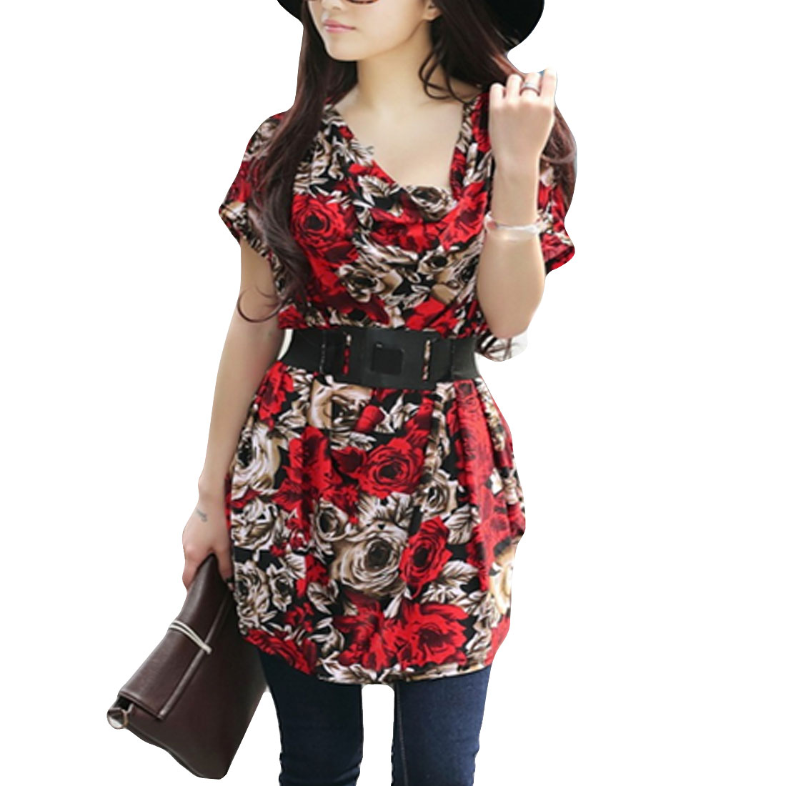Shawl Collar Batwing Sleeve Dress Red Brown M w Waist Belt for Ladies