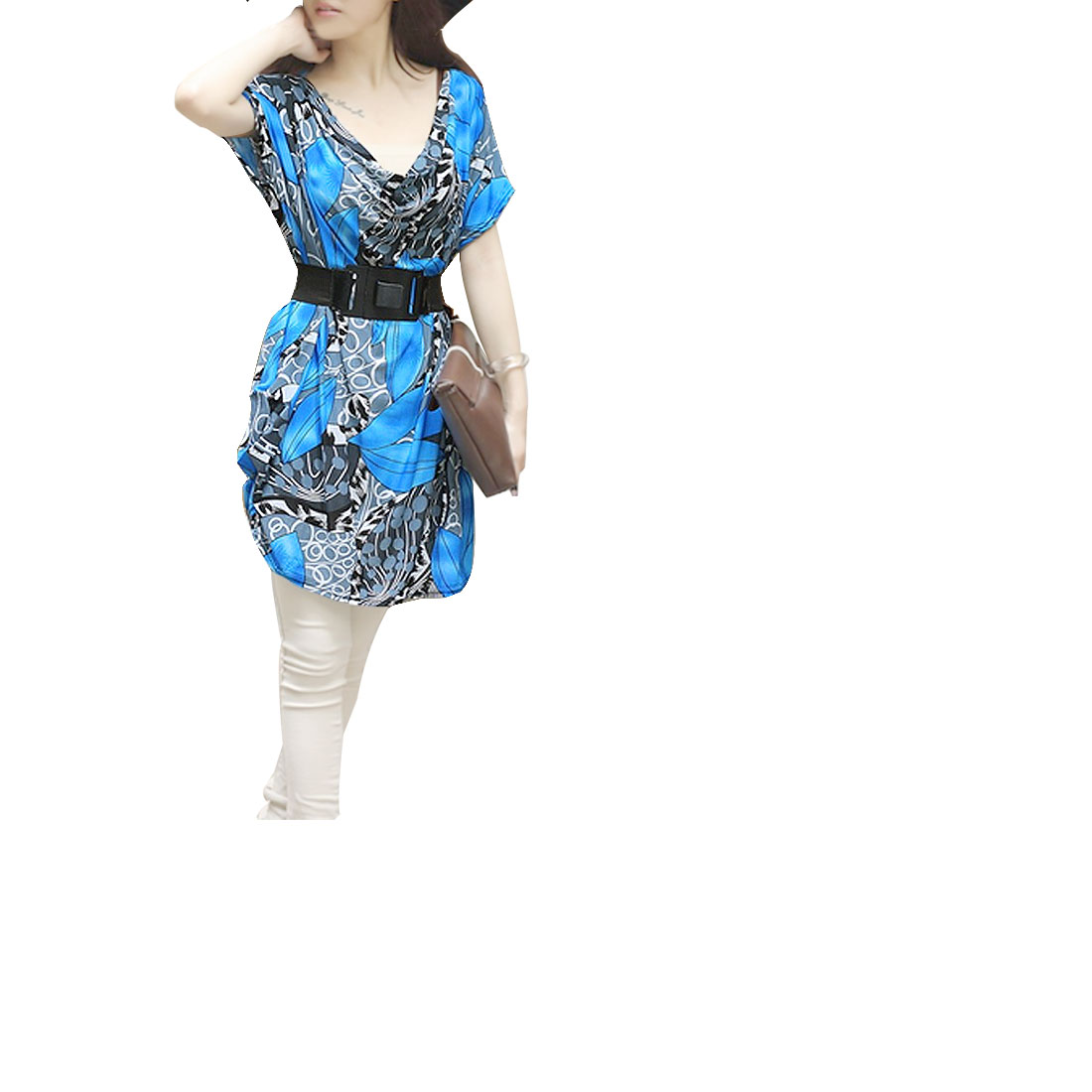 Woman Charming Gray Blue Leaf Pattern Pullover Dress M + Waist Belt