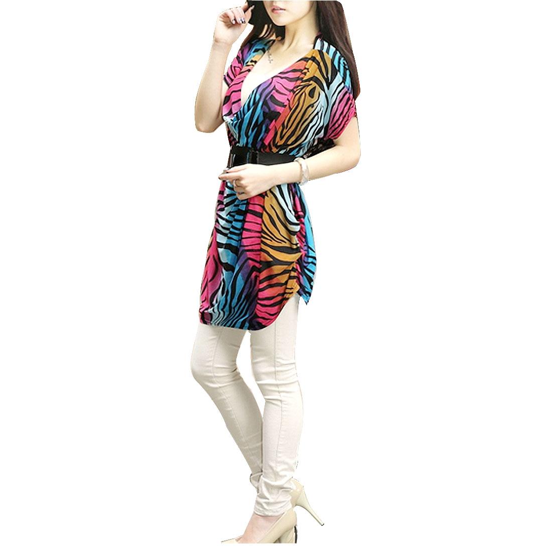 Women Waist Belt + Assorted Color Zebra Print Ruched Side Loose Dress M