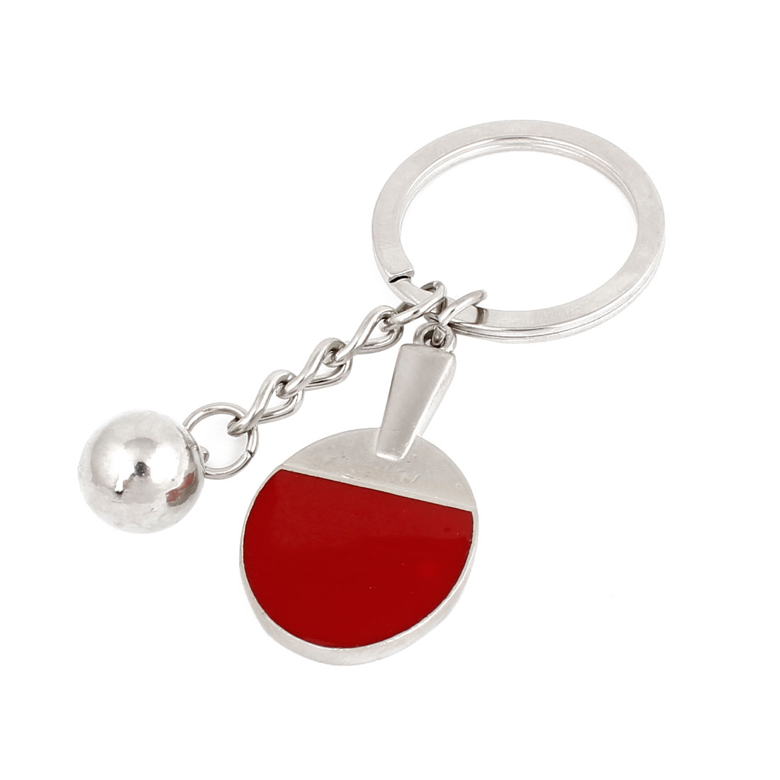 Silver Tone Red Table Tennis Racket Ball Pendant Keychain