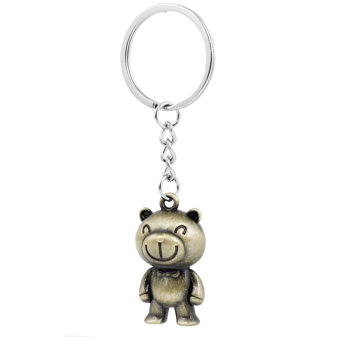 Bronze Tone Metal Smiling Souvenir Bear Pendant Keychain