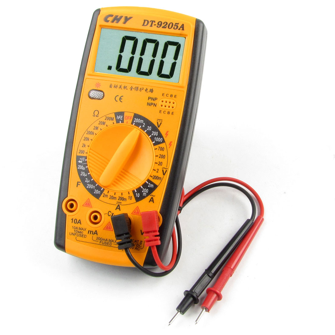 2mA-20A DC Current Voltmeter Ammeter Ohmmeter Digital Multimeter Yellow Black