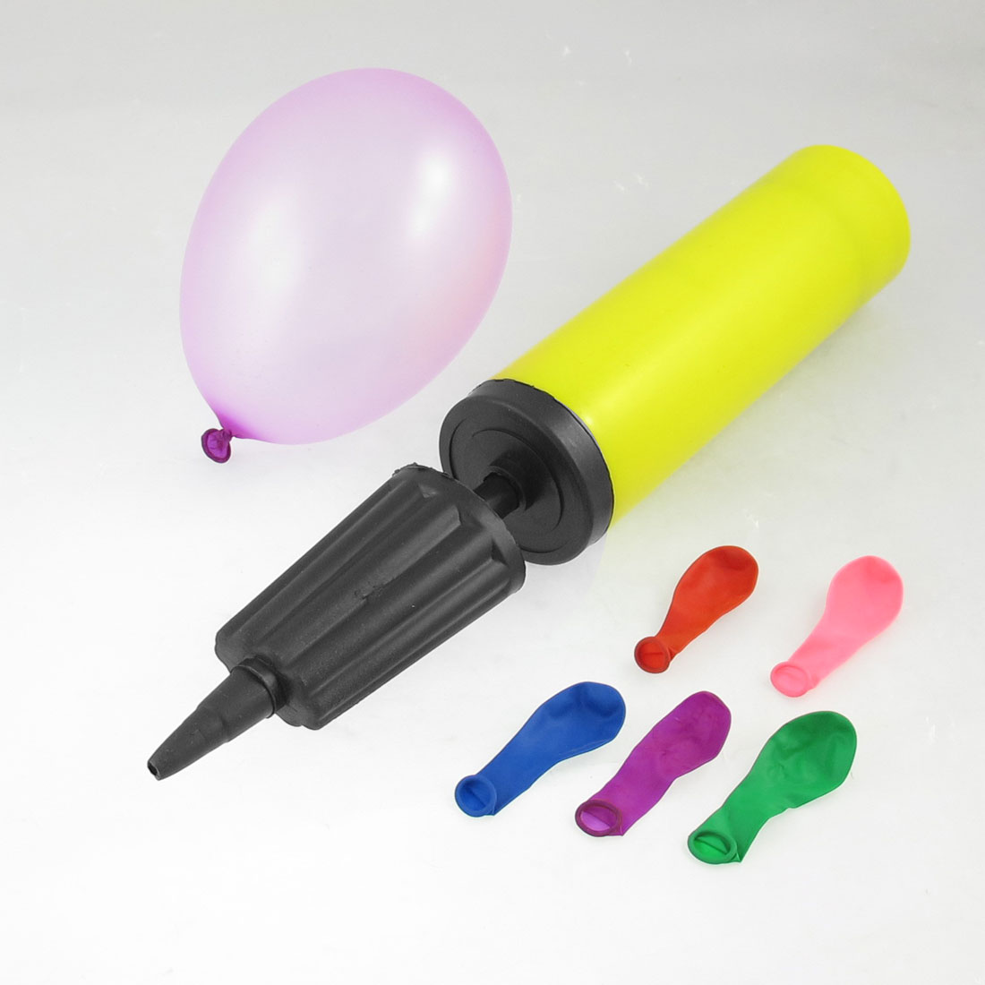 100 Pcs Assorted Color Latex Balloons + Air Pump Inflator Black Yellow