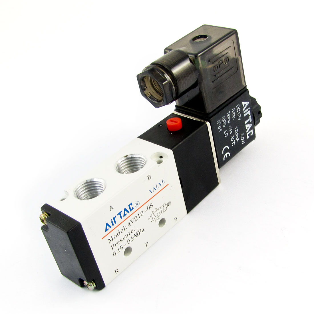 DC 12V 3.0W 120mA Inner Guide 2 Position 5 Way Air Control Solenoid Valve