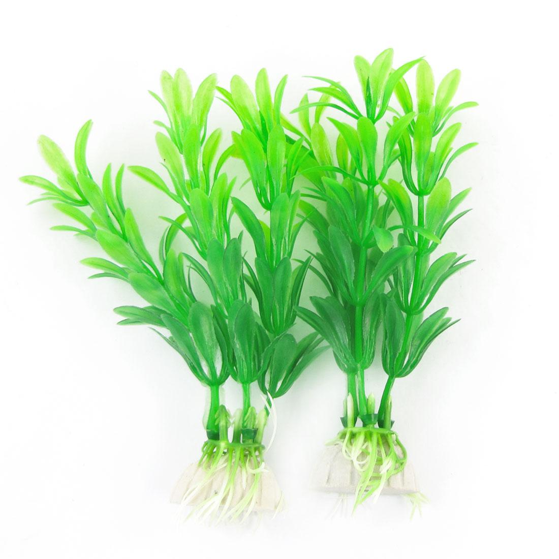 "2 Pcs Fish Tank Aquarium Landscaping Ceramic Base Green Grass Plant 5.1"" High"