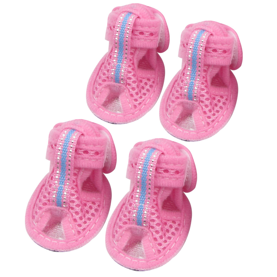 Summer 2 Pair Rubber Soles Pink Nylon Pet Dog Sandals Shoes Size XS
