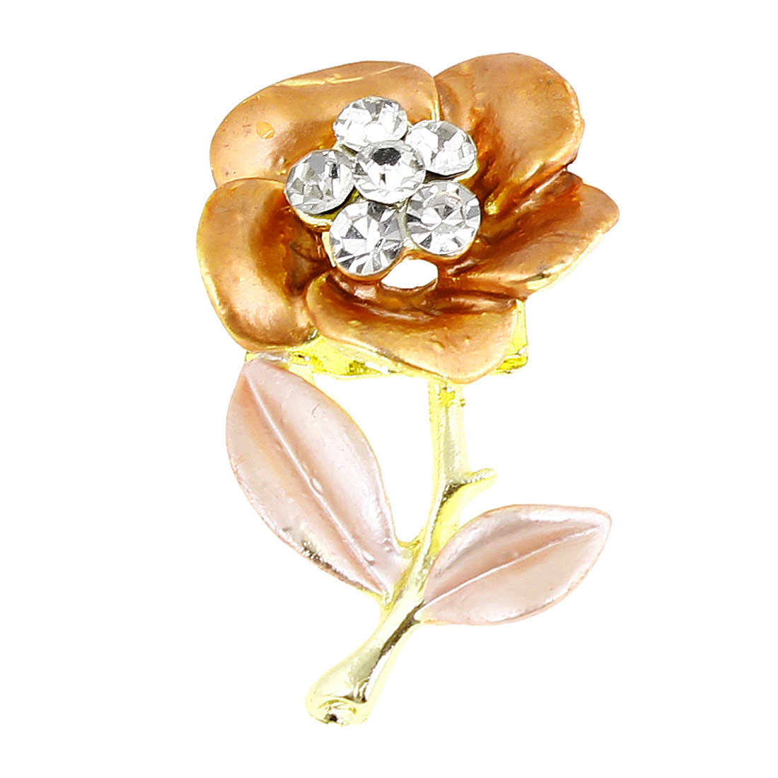 Woman Shiny Rhinestone Inlaid Orange Champagne Flower Design Brooch Pin