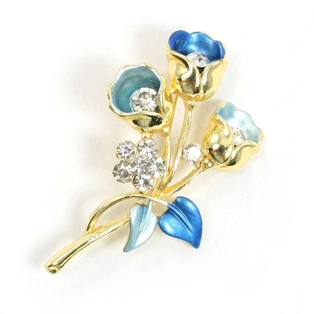 Woman Lady Glittery Rhinestone Inlaid Flower Royal Blue Leaf Metal Brooch
