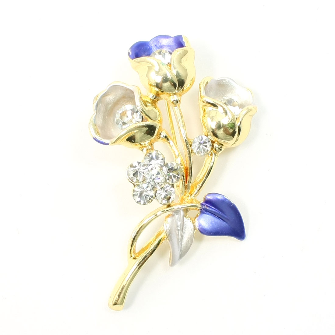 Woman Lady Glittery Rhinestone Inlaid Flower Blue Leaf Metal Brooch Gold Tone