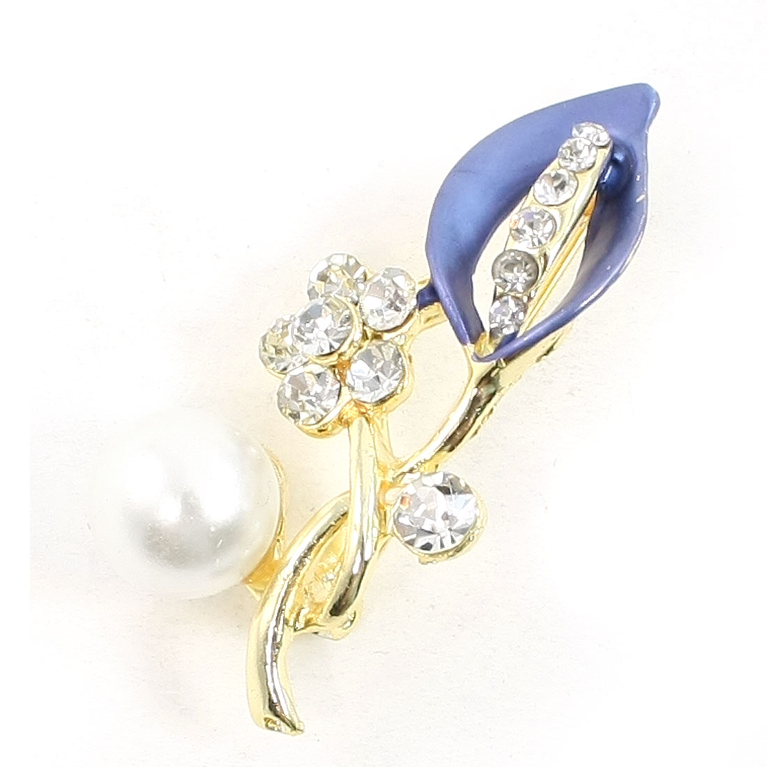 Rhinestone Accent Floral Leave Safety Pin Brooch Breastpin Yale Blue for Ladies