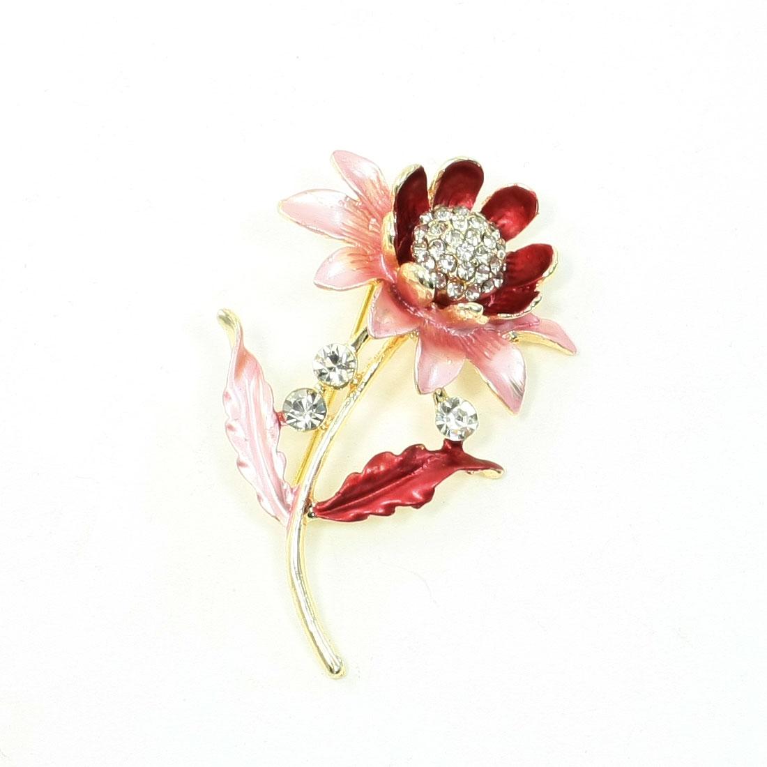 Woman Lady Glittery Rhinestone Inlaid Flower Pink Leaf Metal Brooch