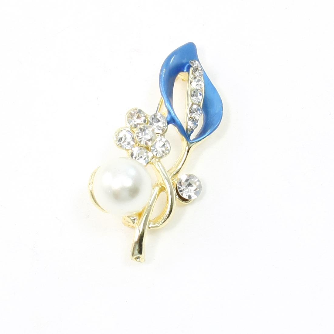 Plastic Pearl Rhinestone Flower Accent Leave Brooch Breastpin Indigo Blue for Lady