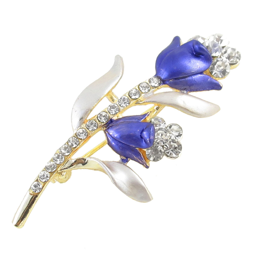 Ladies Rhinestones Inlaid Metal Flowers Brooch Breast Pin Decor Gold Tone Blue