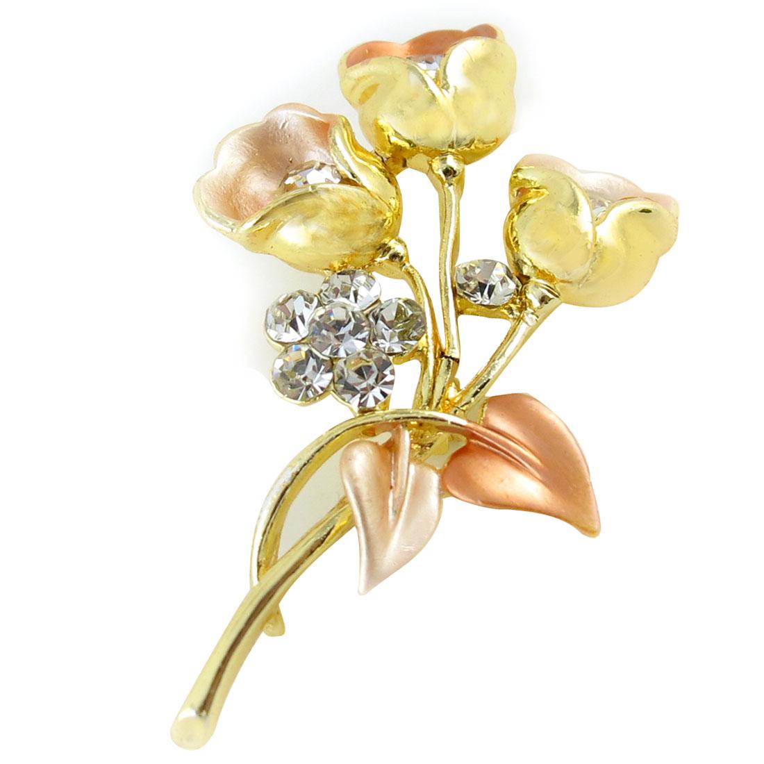 Ladies Rhinestones Inlaid Metal Flowers Brooch Breast Pin Decor Gold Tone Pink
