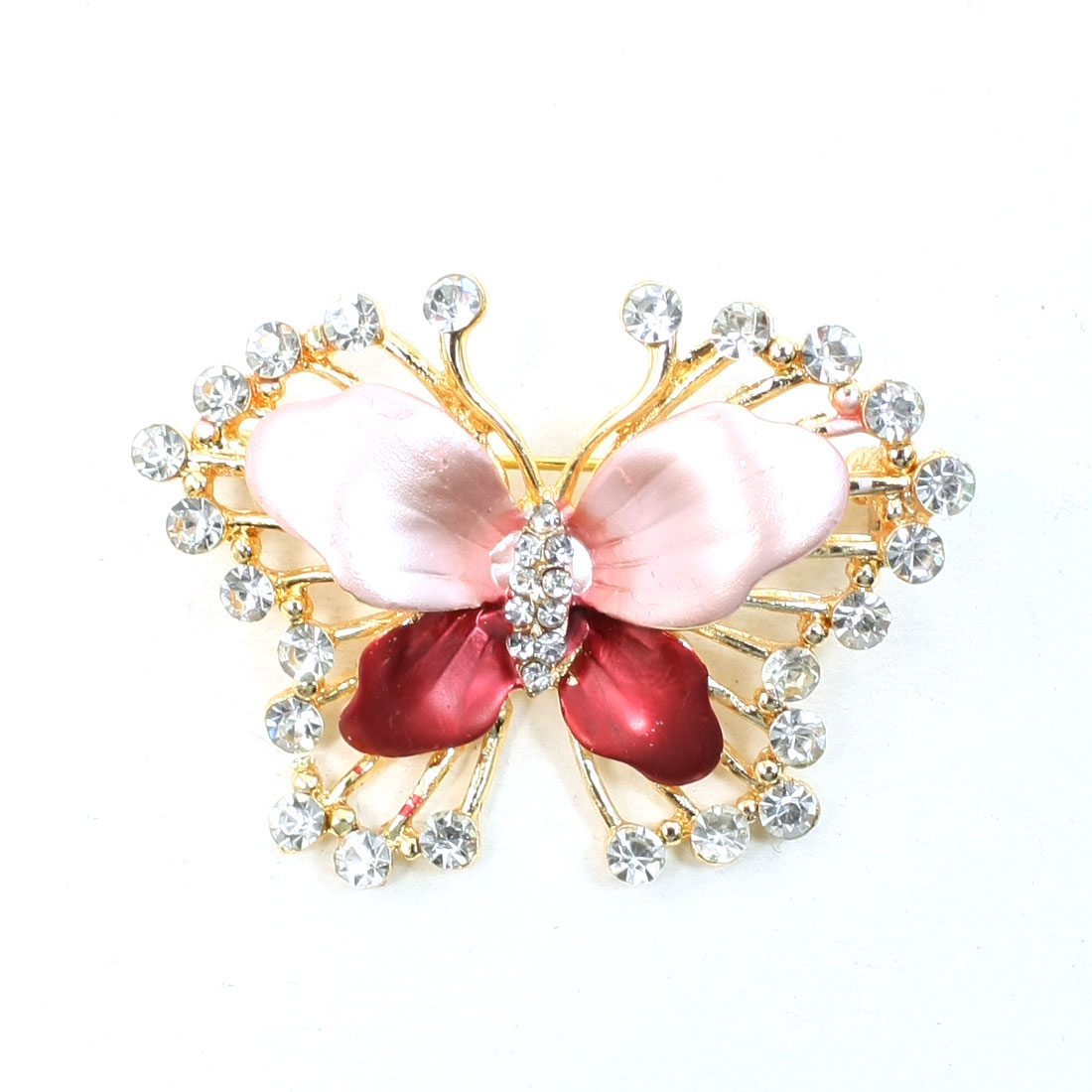 Glittery Rhinestone Decoration Amaranth Butterfly Design Pin Brooch Gift for Lady