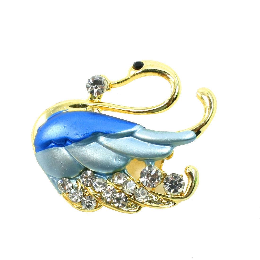 Lady Glistening Rhinestone Wing Swan Detailing Safety Pin Brooch Breastpine Blue