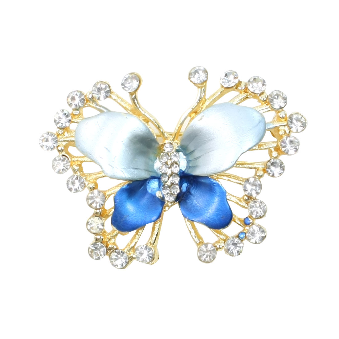 Lady Rhinestone Detail Amaranth Butterfly Shape Safety Pin Brooch Breastpin Blue