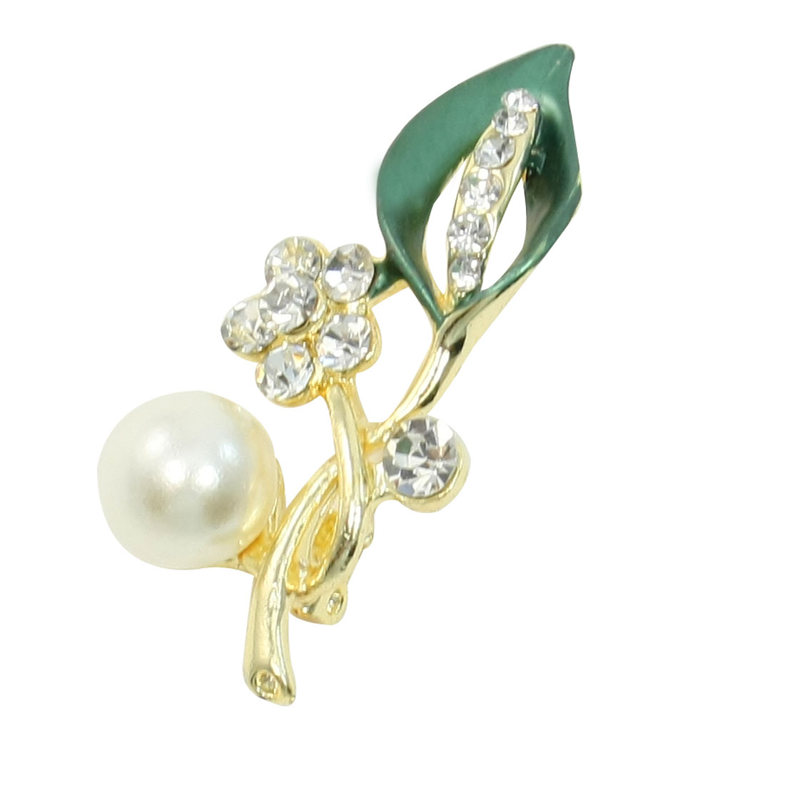 Rhinestone Accent Floral Leave Safety Pin Brooch Breastpin Green for Ladies