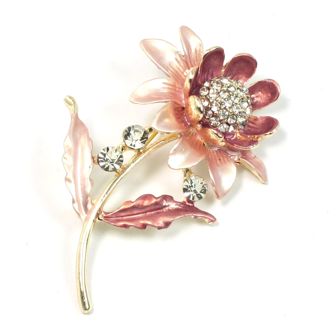 Ladies Woman Rhinestone Flower Pink Leaf Pin Brooch Broach