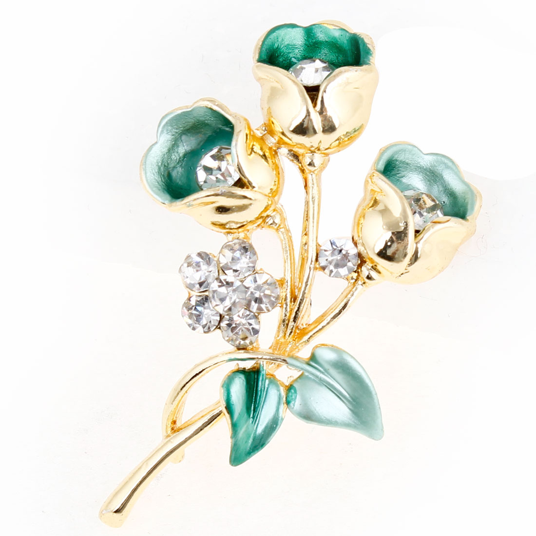 Woman Rhinestone Accent Green Flowers Shaped Safety Pin Brooch Gold Tone
